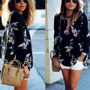 Moderno-Mujer-Verano-Chifon-Manga-Larga-Camiseta-Floral-Informal-Holgado-Blusa
