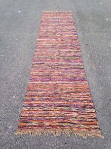 """28"""" X 116"""" Multi Colored Vintage Rag Rug Runner"""
