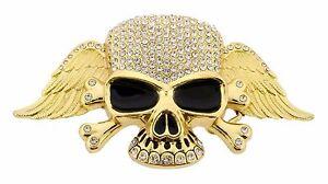 Hommes-Femmes-Crane-Boucle-de-ceinture-squelette-or-strass-metal-goth-Tribal-Tattoo