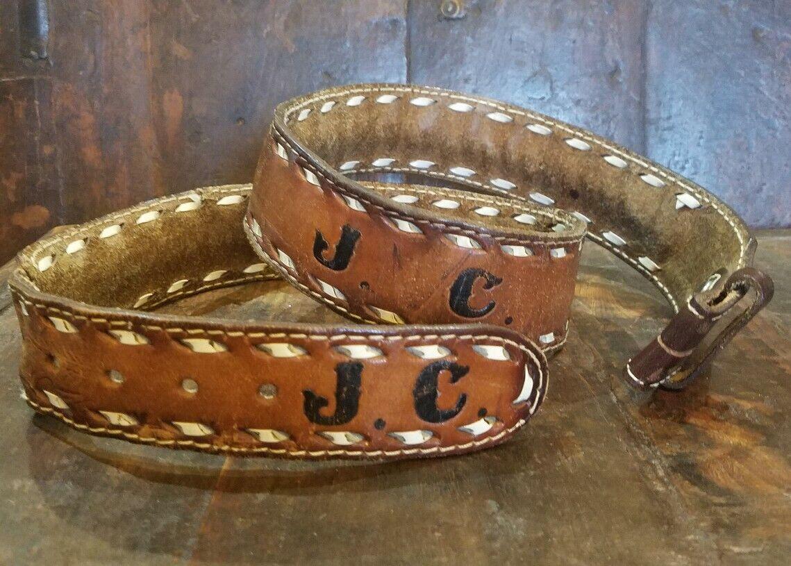 J C true vintage leather hand tooled laced western cowboy worn belt sz 41