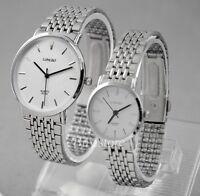 Classic Elegant Men / Ladies Stainless Steel Fashion Quartz Wrist Watch 2 Colors