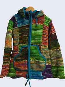 Ladies-woolen-Hippie-Boho-Knit-Cardigan-with-Fleece-Lining-and-Hood-3-sizes