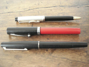 Lot 2 stylos plume anciens collection Lamy, Sheaffer + stylo bille Silver Match