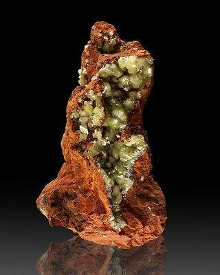 """6.1"""" Vibrant, Glassy YellowGreen ADAMITE Fine Crystals on Matrix Mexico for sale"""