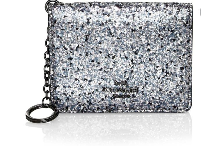 COACH Bifold Mini Skinny ID Case In Silver Glitter Canvas / Leather RRP