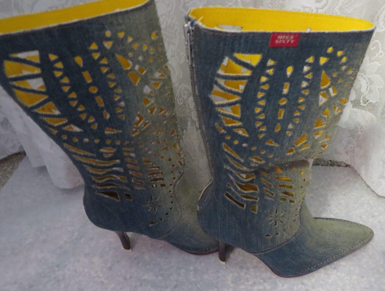 MISS SIXY DENIM BOOTS Lazer Cut Sexy Size 37 6.5 Italy Heel Designer