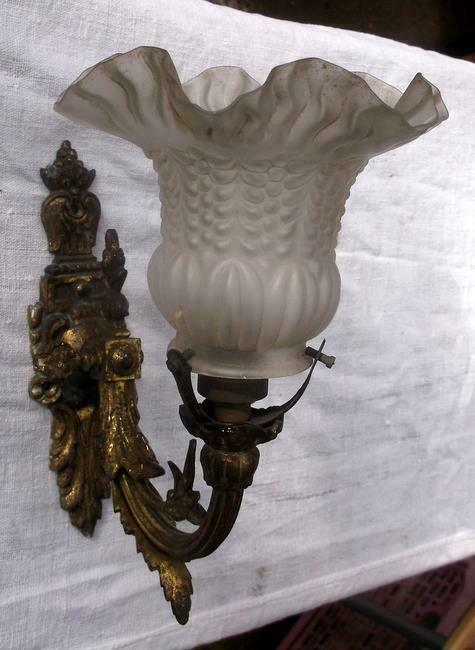 Original Antique French Bronze Wall Light + Glass Shade