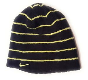 3b3e57b0d Details about Nike Boys Youth Beanie Striped Hat Size 8/20 Black