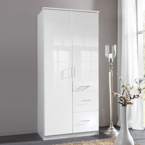 Kleiderschrank Clack Drehtürenschrank in hochglanz weiß Alpinweiß 90 cm