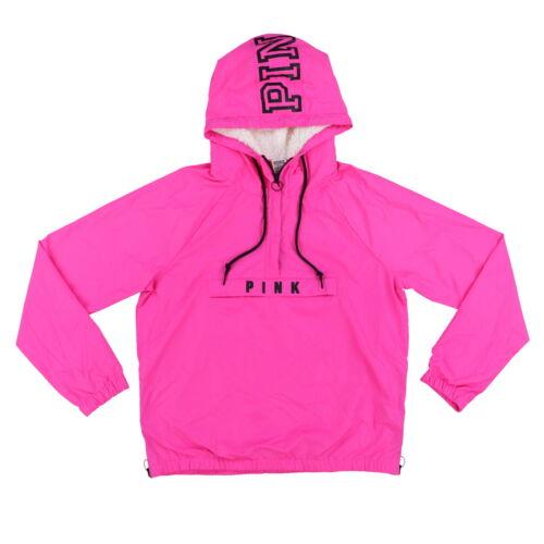 Victoria/'s Secret Pink Jacket Windbreaker Half Zip Sherpa Lined Hoodie Logo New