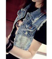 New Women Punk Frayed Cardigan Denim Jean Vest Waistcoat Jacket Outerwear Coat#