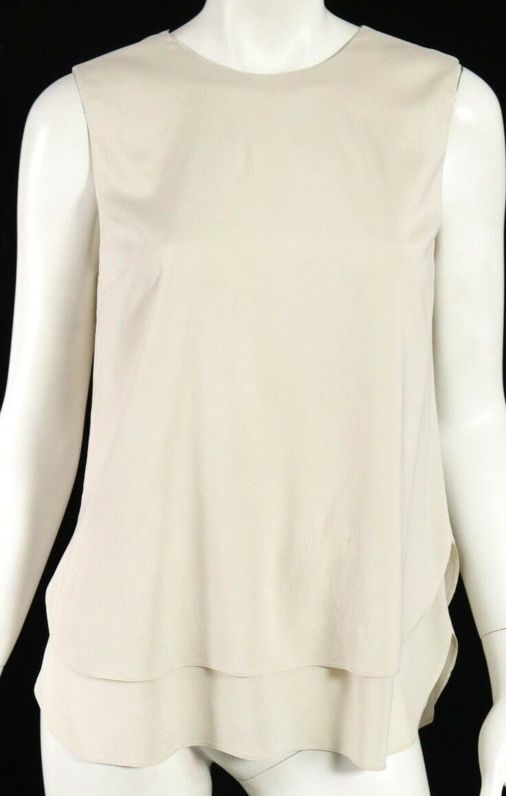 BRUNELLO CUCINELLI Off-White Silk Blend Monili Trim Layered Blouse XL
