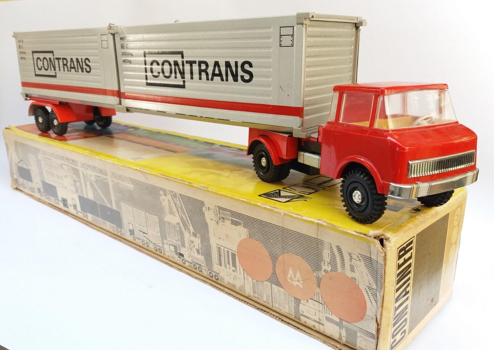 Vintage Ancien rare DDR Allemagne Plastique Tin Contrans camion jouet Miss Brandebourg + Boîte