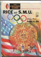 Rice Vs S.M.U. Cotton Bowl Oct.19,1968   Football Program   MBX103