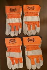 4 Pairs Of Boss Premium Work Gloves Double Leather Palm Size L And Xl