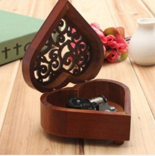 EVERGREEN @ WESTLIFE HEART WOOD SILVER WIND UP MUSIC BOX