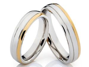 2 Eheringe Trauringe Ring Hochzeit Verlobung Edelstahl Bicolor /& gratis Gravur