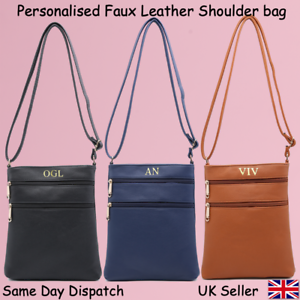Black Navy Tan Personalised Women Faux Leather Ladies Shoulder Tote Handbag Bag