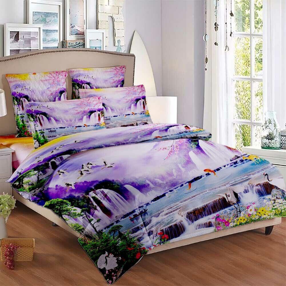 lila Cloud Falls 3D Printing Duvet Quilt Doona Covers Pillow Case Bedding Sets