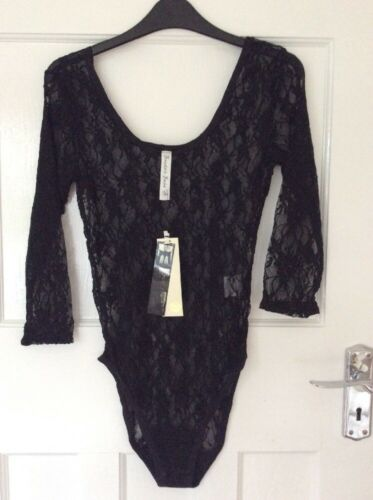 BNWT Ladies Size 12 Black Lacey 3//4 Sleeve Body Suit