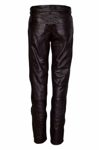 Slim Pants Biker Soft Brown Fit Trousers Stylish Elegant Lambskin Mens Leather S6qxf