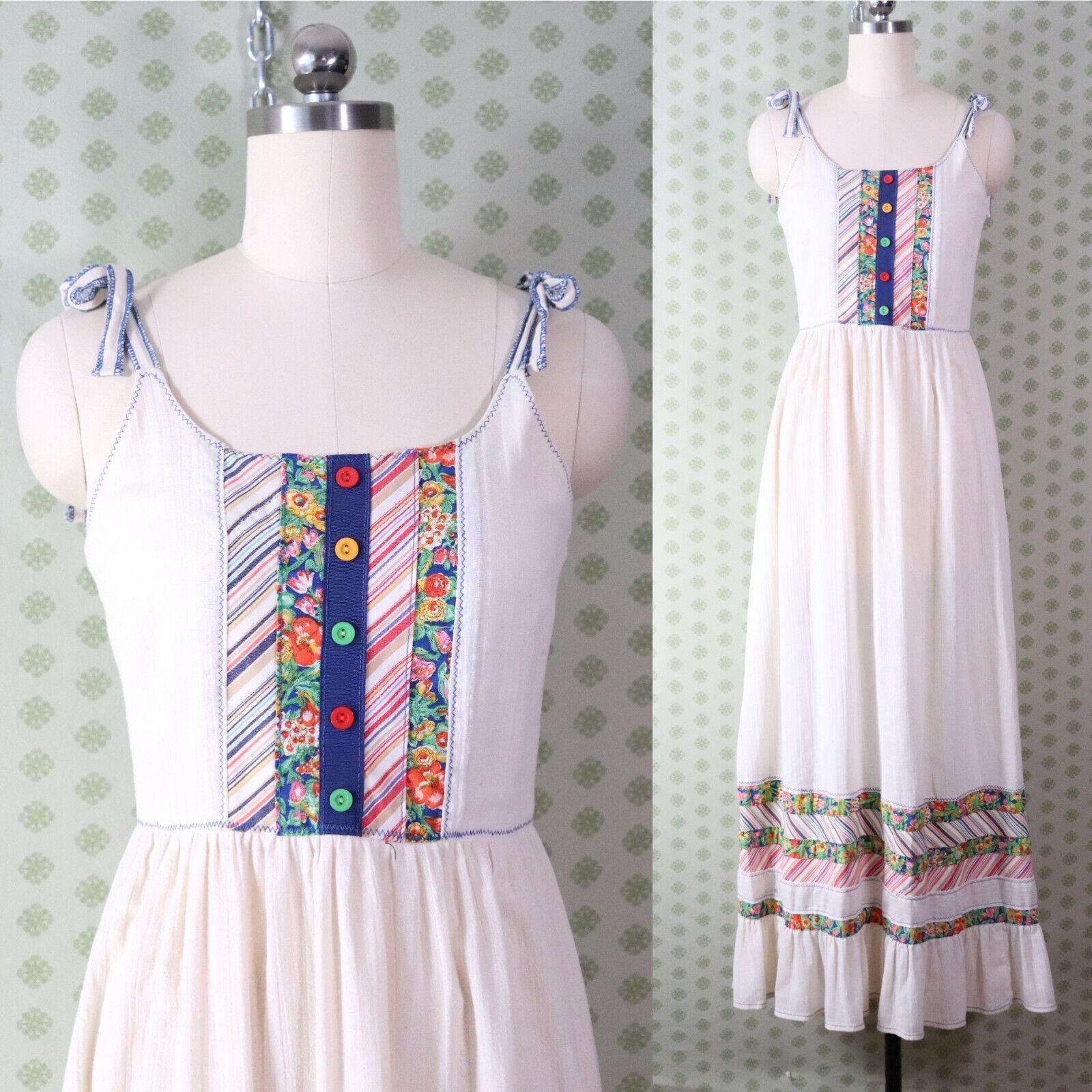 vintage 60s 70s patchwork guaze maxi dress XS pra… - image 1