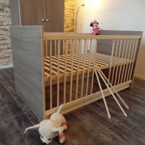 Lit Gitterbett complet set lit bébé 70x140cm transformable brauncafe Gravure!
