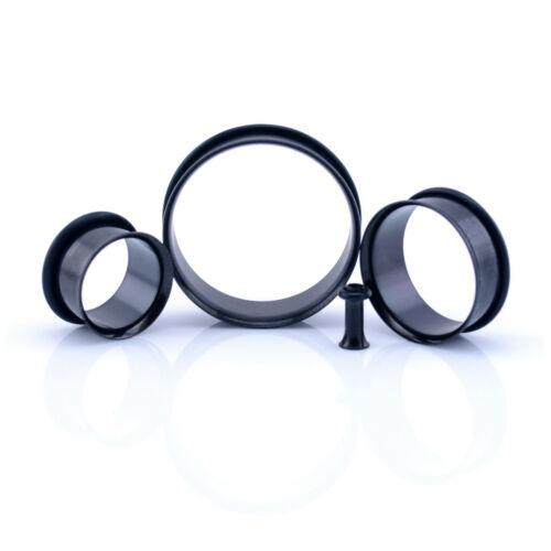 Steel SINGLE FLARE Flesh Tunnel Ear Plug With O-Ring 2mm 30mm Silver /& Black