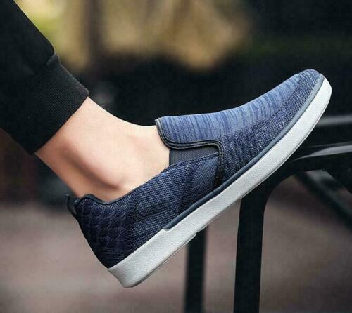 New Mens Canvas Shoes Low Top Casual Slip On Loafers Flat Sneakers Shoes US Size