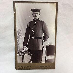 WWI-Carte-De-Visite-Photograph-German-Soldier-Officer-Sword-Karl-Bauer-Karlsruhe