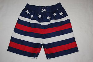 0eec985e4c42c Boys Swim Trunks AMERICAN FLAG LOOK Red White Blue S 6-7 M 8-10 L 12 ...