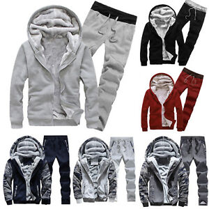 933c75b6520 2PCS Mens Sports Clothing Sets Pants G-Real Hoodie Winter Camouflag Warm  Fleece Zipper Outwear Coat