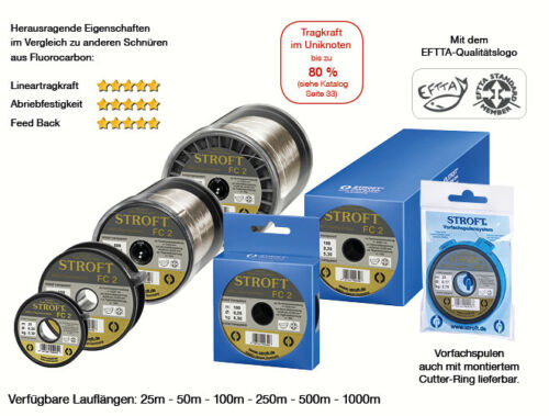STROFT fc2 250 M Fluorocarbon Fishing Line 0.09 MM to 0.60 mm Crystal Transp.