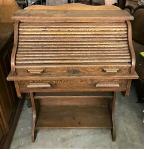 Vintage-Antique-Childs-039-Solid-Oak-Wooden-Roll-Top-Desk-Secretary-WE-SHIP