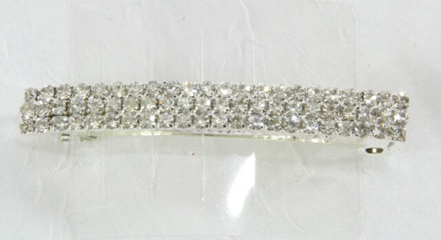 Triple row clear rhinestone barrette silver tone hair clip dressy sparkly up do