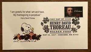 2017 Fdc First Day Henry David Thoreau Snoopy Thanksgiving Quote