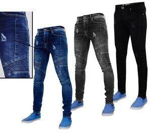 guetter meilleure vente faire les courses pour Détails sur Enzo Homme Skinny Jeans Denim Slim Fit Ripped Motard Extensible  Pantalon Pantalon- afficher le titre d'origine