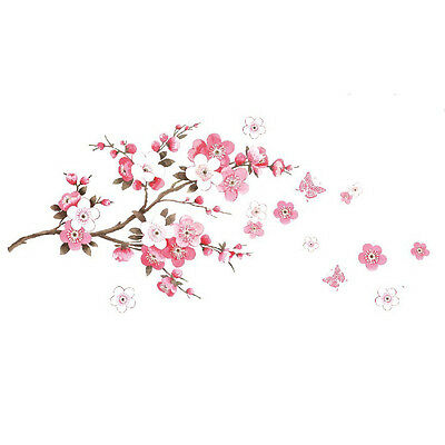 Removable Pink Blossom Flowers Tree Branch Wall Stickers Art Decal Mural Vinyl