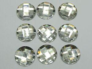 50-Clear-Acrylic-Flatback-Rhinestone-Round-Gem-Beads-20mm-No-Hole