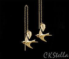 *CKstella* 14K Gold gf  Hovering Swallow Leaf Bird Ear Thread Threader Earrings