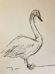 JOSE-TRUJILLO-Original-Signed-ART-Charcoal-Paper-Sketch-Drawing-9X12-034-Goose