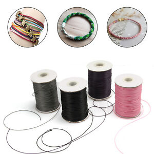 10m-Waxed-Cord-Thread-Wire-1mm-1-5mm-For-Craft-Bracelet-Jewelry-Making-4-Color