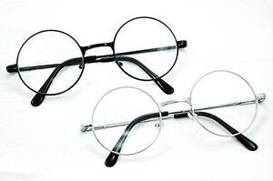 7e6eabdb84 GF52 Retro Round Frame Silver or Black Metal Clear Lens Glasses ...