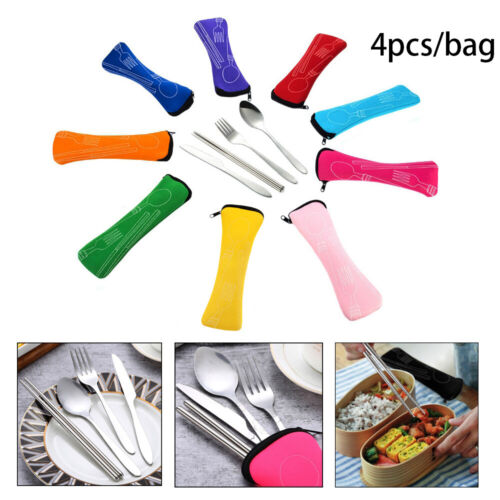 4Pcs//Bag Stainless Steel Fork Spoon Chopsticks Travel Camping Cutlery Tool UK~