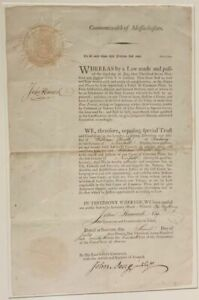 John Hancock Signed Appointment for William Heath of Roxbury, Norfolk County of
