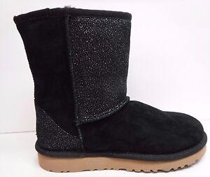 Image is loading UGG-Australia-Kids-Size-9-Boots-Black-Sparkle-