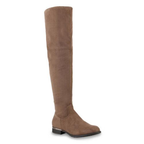 892935 Gefütterte Damen Overknees Metallic Winter Stiefel Lederoptik Mode