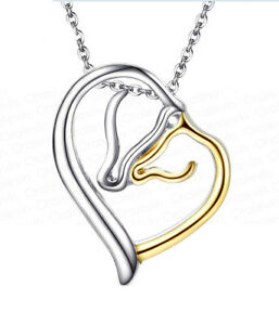 HORSE-amp-WESTERN-JEWELLERY-JEWELRY-SILVER-amp-GOLD-TONE-MARE-amp-FOAL-NECKLACE