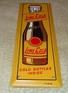 VINTAGE-1951-DRINK-LIME-COLA-IN-BOTTLES-10-034-METAL-DOOR-PUSH-PLATE-SODA-POP-SIGN