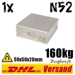 Neodym-Super-Rare-Earth-Magnet-50x50x20mm-5x5x2cm-N52-160kg-starker-Dauermagnet